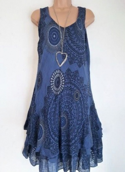 Casual Floral Round Neckline Above Knee Shift Dress_6