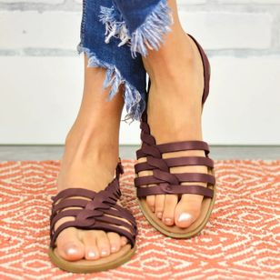 Women's Knit Round Toe Flat Heel Sandals_1