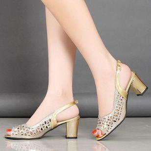 Women's Buckle Peep Toe Chunky Heel Sandals_4