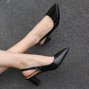 Women's Buckle Pointed Toe Heels Leatherette Chunky Heel Sandals_1