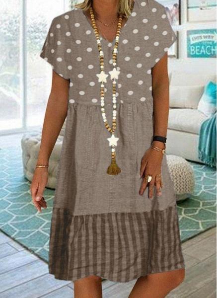 Khaki Plus Size Tunic Polka Dot V-Neckline Casual Knee-Length Plus Dress_1