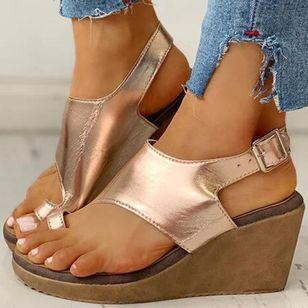 Women's Buckle Toe Ring Cloth Wedge Heel Sandals_3