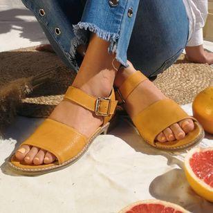 Women's Buckle Round Toe Low Heel Sandals_8