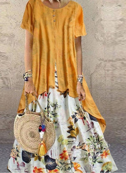 Orange Plus Size Tunic Floral Round Neckline Casual Maxi Plus Dress_3