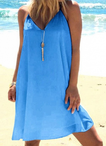 Casual Solid Tunic Camisole Neckline Shift Dress_4