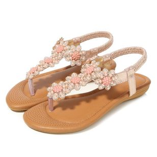 Women's Beading Slingbacks Cloth Flat Heel Sandals_5