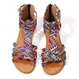 Women's Zipper Flats Leatherette Flat Heel Sandals_2