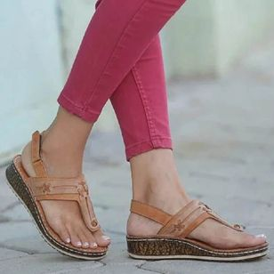 Women's Velcro Flip-Flops Wedge Heel Sandals_3