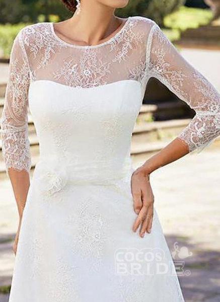 White Plus Size Skater Solid Round Neckline Elegant Lace Plus Dress_2