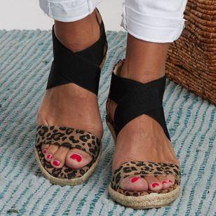 Women's Leopard Zipper Round Toe Heels Wedge Heel Sandals_5