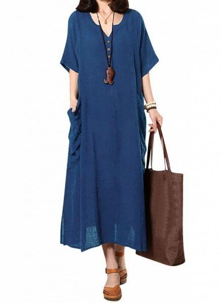 Dark Blue Plus Size Solid Casual Pockets Maxi Shift Dress Plus Dress_11