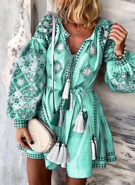 Blue Plus Size Skater Floral V-Neckline Casual Tassel Plus Dress_2