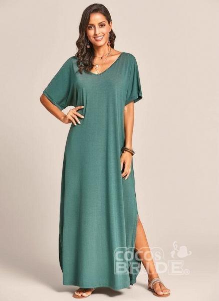 Royal Blue Plus Size Solid V-Neckline Casual Maxi Plus Dress_6