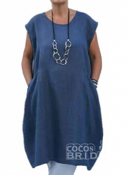 Plus Size Tunic Solid Round Neckline Casual Pockets Plus Dress_3