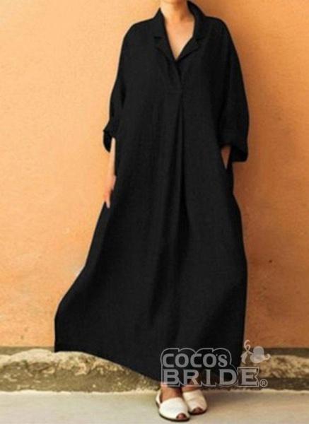 Gray Arabian Solid Tunic Collar Shift Dress_3