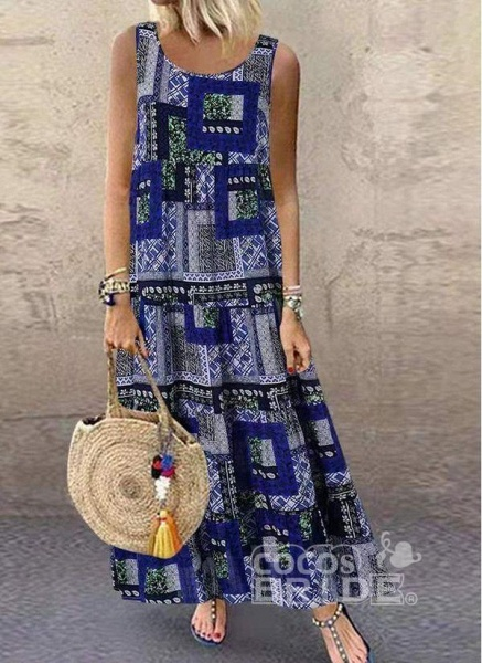 Khaki Plus Size Tunic Color Block Round Neckline Casual Maxi Plus Dress_3