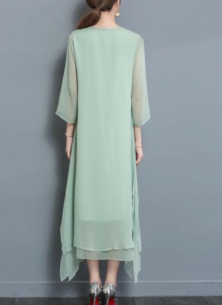 Floral Wrap Round Neckline Maxi A-line Dress_2