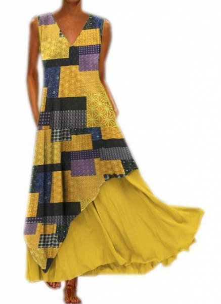 Yellow Casual Geometric Tunic V-Neckline A-line Dress