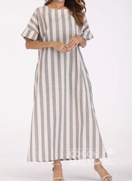 Off-white Plus Size Tunic Stripe Round Neckline Casual Pockets Plus Dress_2