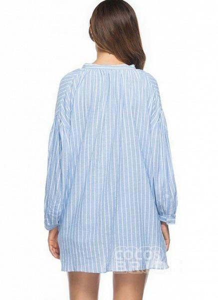 Blue Plus Size Tunic Stripe V-Neckline Casual Mini Plus Dress_2