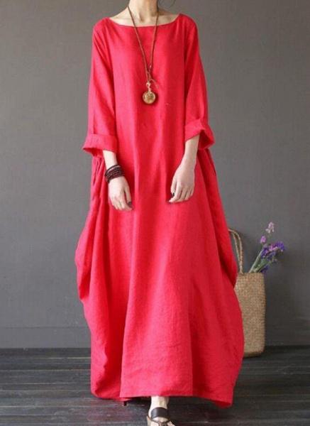 Green Plus Size Tunic Solid Round Neckline Casual Maxi Plus Dress_6