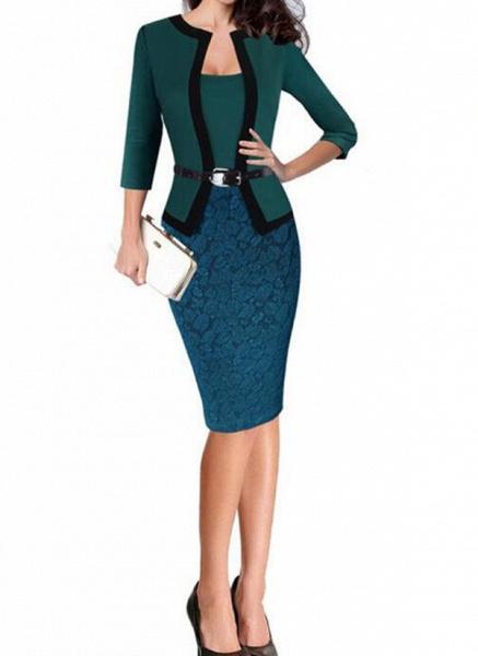 Elegant Color Block Wrap Pencil Bodycon Dress_5