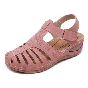 Women's Hollow-out Velcro Round Toe Flat Heel Sandals_5