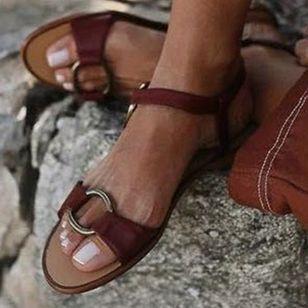 Women's Buckle Slingbacks Flat Heel Sandals_1