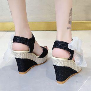 Women's Geometric Lace-up Heels Cloth Wedge Heel Sandals_4