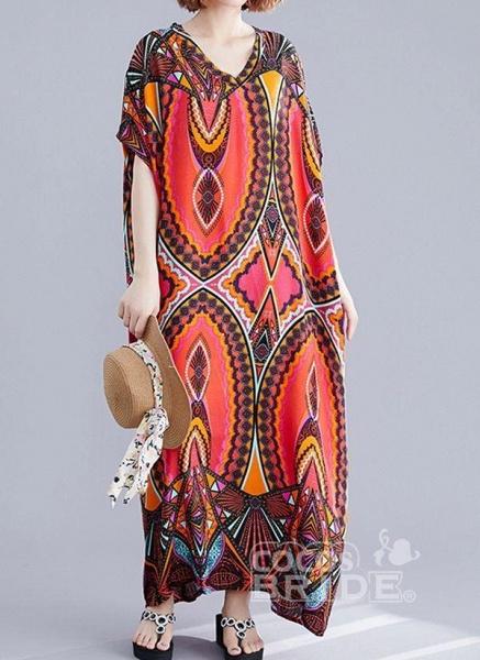 Red Plus Size Tunic Color Block V-Neckline Casual Maxi Plus Dress_2