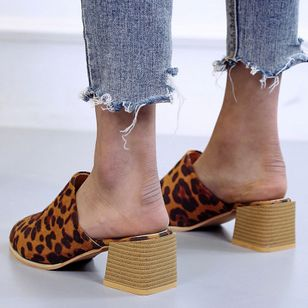 Women's Leopard Pointed Toe Heels Nubuck Chunky Heel Sandals_1