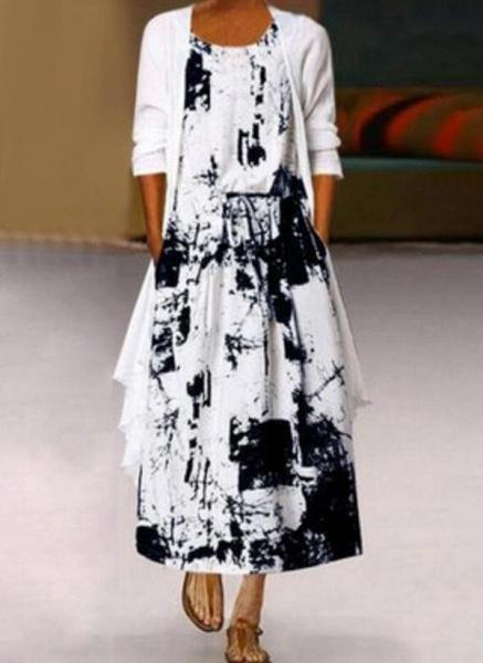 Casual Color Block Round Neckline Maxi X-line Dress_3