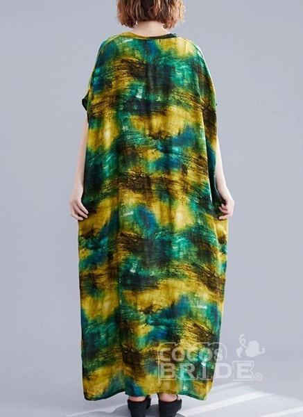 Green Plus Size Tunic Color Block V-Neckline Maxi Plus Dress_4