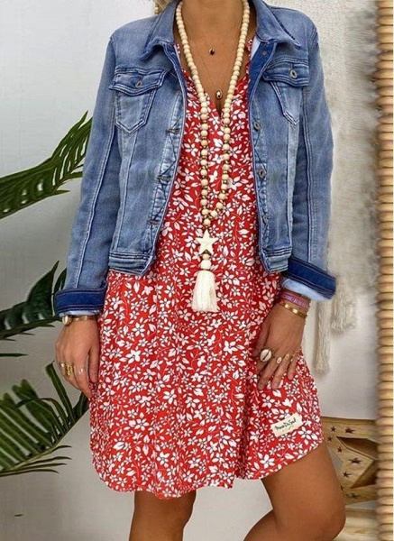 Red Plus Size Tunic Floral V-Neckline Casual Above Knee Plus Dress_2
