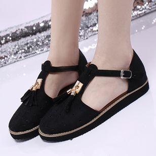 Women's Buckle Tassel Flats Flat Heel Sandals_2