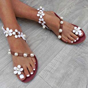 Women's Applique Pearl Toe Ring Flat Heel Sandals_1