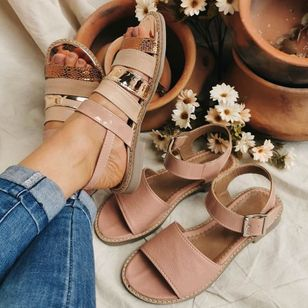 Women's Buckle Round Toe Flat Heel Sandals_8