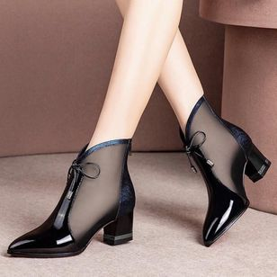 Women's Bowknot Zipper Pointed Toe Heels Fabric Chunky Heel Sandals_3