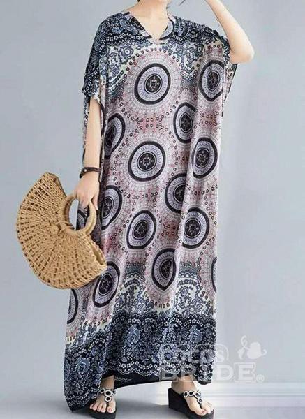 Dark Blue Plus Size Tunic Floral V-Neckline Casual Knee-Length Plus Dress_5