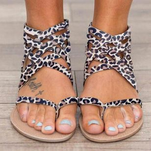 Women's Leopard Zipper Toe Ring Flat Heel Sandals_2