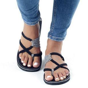 Women's Braided Strap Flip-Flops Flat Heel Sandals_3