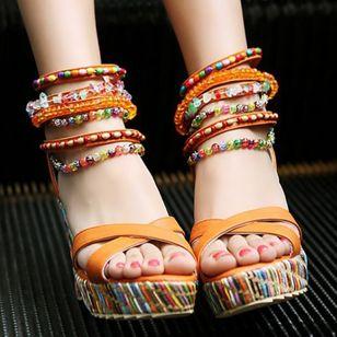 Women's Pearl Heels Leatherette Wedge Heel Sandals_1