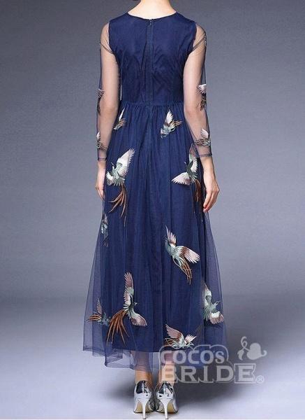 Dark Blue Plus Size Animal Round Neckline Casual Lace Maxi Plus Dress_4