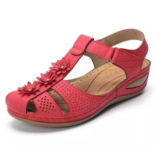 Women's Flower Slingbacks Nubuck Flat Heel Sandals_5