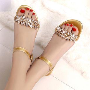 Women's Rhinestone Buckle Heels Low Heel Sandals_5