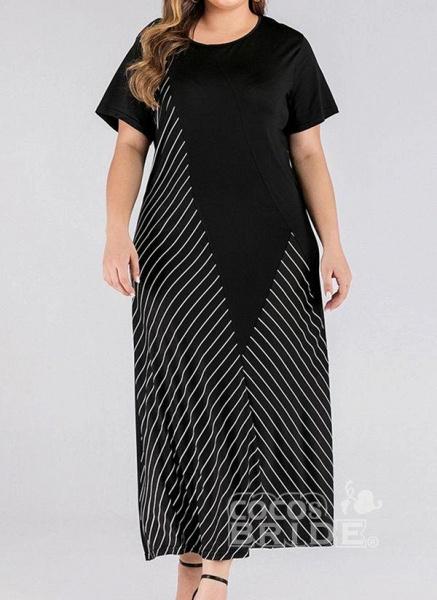 Black Plus Size Stripe Round Neckline Casual Maxi X-line Dress Plus Dress_3