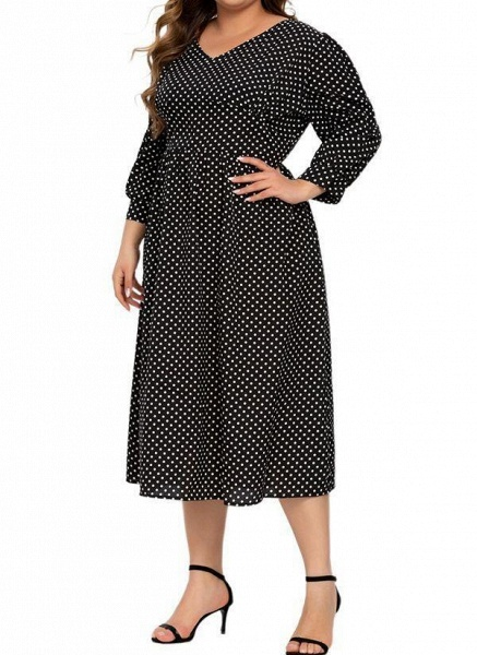 Black Plus Size Color Block V-Neckline Casual Ruffles Midi Plus Dress_1