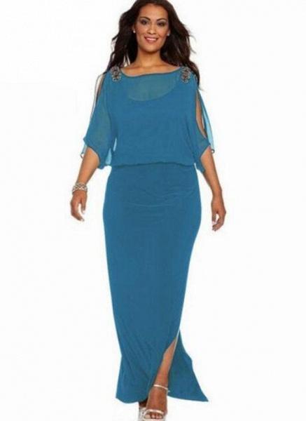 Blue Plus Size Solid Round Neckline Boho Maxi Sheath Dress Plus Dress_1