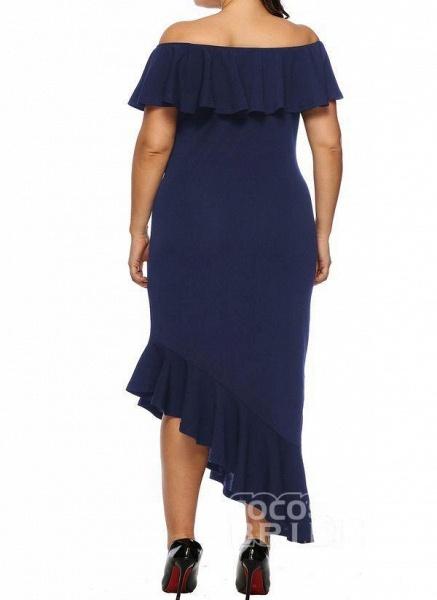 Black Plus Size Pencil Solid Off the Shoulder Elegant Ruffles Plus Dress_4