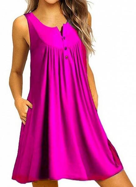 Royal Blue Plus Size Tunic Solid Round Neckline Casual Pockets Plus Dress_7